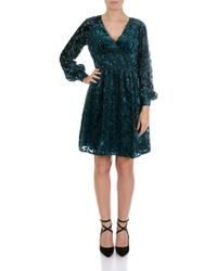 Michael Kors - Luxe Teal-colored Dress With Velvet Inserts - Lyst
