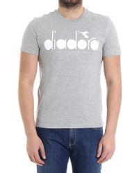 Diadora - Gray T-shirt With White Logo - Lyst