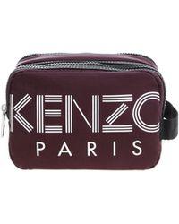 KENZO Burgundy Beautycase With White Logo Print