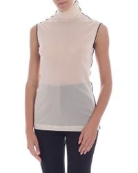 Helmut Lang - Cream-colored Mesh Top - Lyst