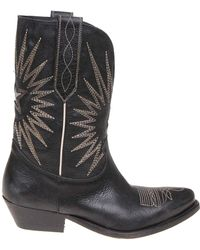 Golden Goose Deluxe Brand - Wish Star Embroidered Leather Boots - Lyst