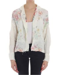 Avant Toi - Cream-color Cardigan With Floral Pattern - Lyst