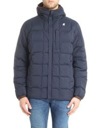 K-Way - Blue And Brown Reversible Jaques Down Jacket - Lyst