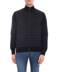 Moncler - Cardigan In Black With Quilted Insert - Lyst