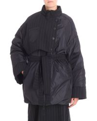 I'm Isola Marras - Black Quilted Jacket With Pinstriped Fabric Inserts - Lyst