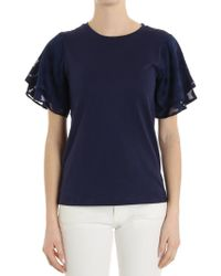 Michael Kors - Blue T-shirt With Polka Dots Sleeve - Lyst