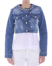 Ki6? Who Are You? - Blue Demin Jacket With Pearls And Rhinestones - Lyst