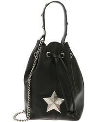 addbc42ef73edc Les Jeunes Etoiles - Bucket Bag In Black Leather With Shoulder Strap - Lyst