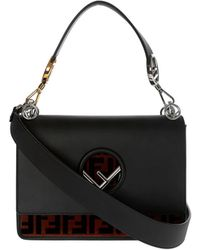 Fendi - Kan I Black Bag With Ff Carpet - Lyst