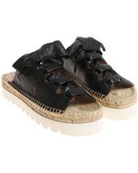 L'Autre Chose - Black Crackle Leather Sandals - Lyst