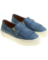 Moreschi - Light-blue Slip On With Buckle And Fringes - Lyst