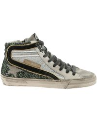 Golden Goose Deluxe Brand - Slide Green And Silver Glittery Trainers - Lyst