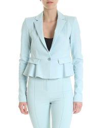 Patrizia Pepe - Light Blue Crop Jacket With Ruffle - Lyst
