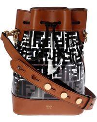 66c412635743 Fendi - Mon Tresor Big Bucket Bag In Black And Brown - Lyst
