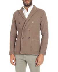 Lardini - Brown Double-breasted Cardigan - Lyst