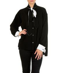 Loewe - Lavaliere Black And White Blouse - Lyst