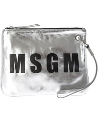 MSGM - Silver Leather Clutch Bag With Logo - Lyst