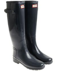 HUNTER - Glossy Blue Wellington Boots - Lyst