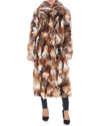 Dondup - White And Brown Eco-fur Jacket - Lyst