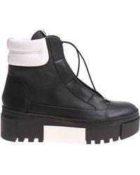 Vic Matié - Black Ankle Boots With White Edges - Lyst