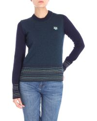 KENZO - Tiger Blue And Green Logo Pullover - Lyst