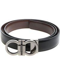 Ferragamo - Black Belt With Silver Metal Buckle Closure - Lyst