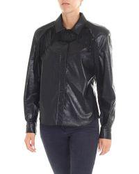 Philosophy Di Lorenzo Serafini - Black Eco Leather Shirt With Fringes - Lyst