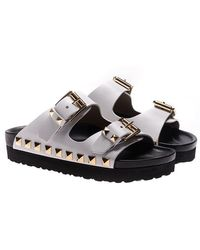 Maria Cristina - White Leather Slides With Studs - Lyst