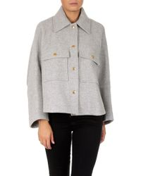 Chloé - Grey Melange Wool Coat - Lyst