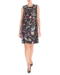 RED Valentino - Black Jacquard Floral Pattern Dress - Lyst