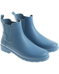 HUNTER - Light Blue Rubber Refined Chelsea Boots - Lyst