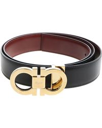 Ferragamo - Brown Leather Belt With Buckle Closure - Lyst