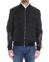 Low Brand - Black Bomber Jacket With Leather Inserts - Lyst
