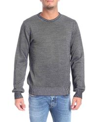Trussardi - Grey And Black Ribbed Pullover - Lyst