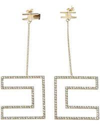 Elisabetta Franchi - Branded Earrings With Rhinestones - Lyst