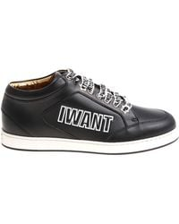 658c8f6874b6 Lyst - Jimmy Choo Miami Choo Me Sneakers In Black Canvas And Leather ...