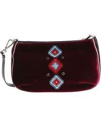 Pinko - Burgundy Embroidered Velvet Tofane Clutch Bag - Lyst