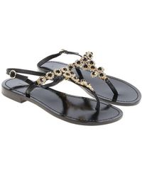 Twin Set - Black Jewel Flip Flops - Lyst