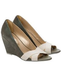 b5bac8c921a5 See By Chloé 70Mm Suede Lace-Up Wedge Sandals in Blue - Lyst