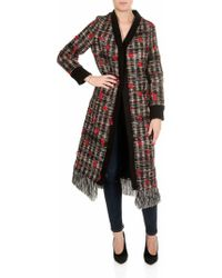 Shirtaporter - Red Fringed Coat With Multicolor Yarns - Lyst