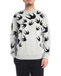 McQ - Grey Crew-neck Sweatshirt With Swallow Swarm Print - Lyst