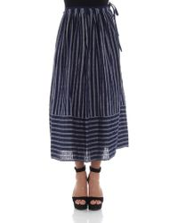 Aspesi - Blue And Gray Striped Skirt - Lyst
