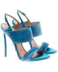 Casadei - Turquoise Velvet Sandals - Lyst