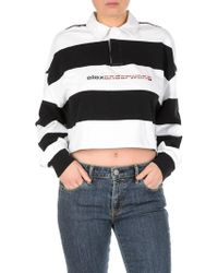 Alexander Wang - White And Black Rugby Polo T-shirt - Lyst