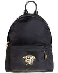 9350661527aa Lyst - Versace Textured Faux Leather Backpack in Black