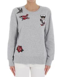 Karl Lagerfeld - Gray Karl Sweatshirt With Patches - Lyst