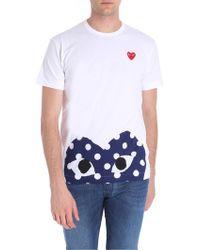 b04d45406 COMME DES GARÇONS PLAY - White Play T-shirt With Half Polka Dot Heart -