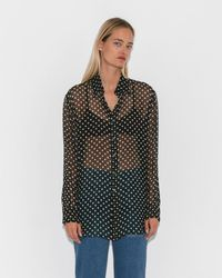 Organic By John Patrick - Black/white Chiffon Dot Shirt - Lyst