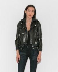 R13 - Hooded Moto Jacket - Lyst
