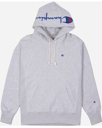 a05fd8b30fab Lyst - Champion Logo Hoodie in Gray for Men